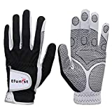 Efunist Men's Golf Glove 2 Pack Black Left Hand Hot Wet Weather No Sweat Non-Slip Fit Size Small Medium Large XL XXL (24=M/Large, Worn on Left Hand(Right-Handed Golfer))