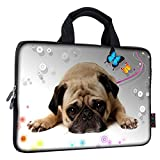 ICOLOR 9.7 10 10.1 10.2 inch Neoprene Tablet Bag Carring Case Sleeve Cover with Handle for 9.7 to 10.2 Inch Laptops/Notebook/ebooks/Kids Tablet/Apple ipad Pug Sleep ICB10-02