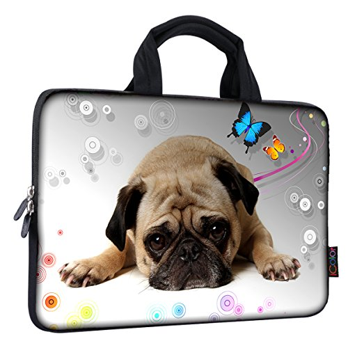 iColor 14 15 15.4 15.6 inch Laptop Handle Bag Computer Protect Case Pouch Holder Notebook Sleeve Neoprene Cover Soft Carring Travel Case for Dell Lenovo Toshiba HP Chromebook ASUS Acer Pug ICB-02