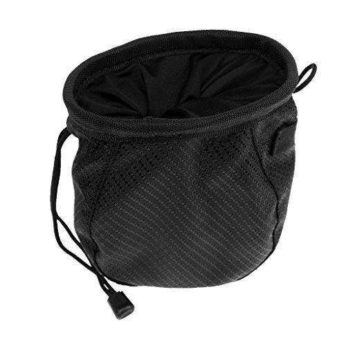 MagiDeal Golfball Tasche mit Karabiner Golftasche zusätzlich Beutel Golf Bälle Golfball Reinigungsmittel Pouch - Schwarz