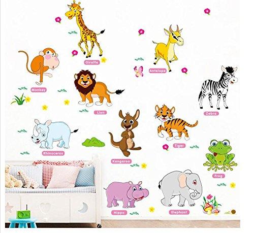 HALLOBO® Wandtattoo Tiere Zebra Känguru Frosch Tiger Elefant Nilpferd Antilope AFFE Löwe Wandsticker Aufkleber Kinderzimmer Babyzimmer