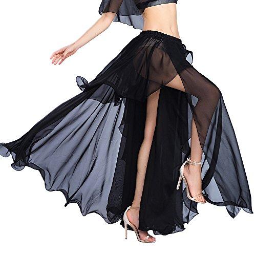 ROYAL SMEELA Falda Danza del Vientre Sexy Faldas largas de Rendimiento para Mujer Gasa Vestidos Danza Vientre Falda Ropa Baile Mujer de práctica Una Talla