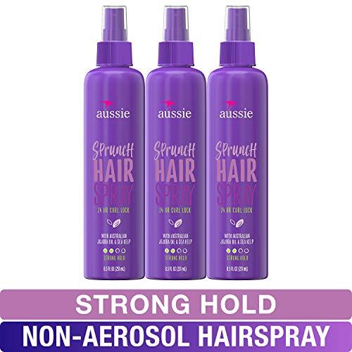 Aussie, Hairspray Non-aerosol, with Jojoba & Sea Kelp, Sprunch, For Curly Hair, 8.5 Fl Oz, Pack of 3
