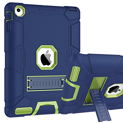BENTOBEN iPad 2 3 4 Hülle, iPad 2 3 4 Schutzhülle, iPad 2/3/4 Tablet Tasche mit Ständer Hybrid PC Schale Silikon Cover rutschfest stoßfest Hülle für iPad 2/3/4 Blau