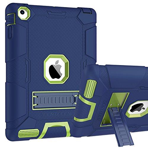 BENTOBEN Funda iPad 2/3/4 Heavy Duty 3 en 1 Carcasa Case Cover Función de Soporte Plegable TPU+PC Duro y Anti-arañazos Funda para Apple iPad 2/ iPad 3/ 4ª Generación, Azul y Verde
