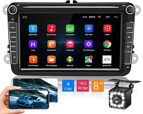 Hikity Autoradio Android per VW Golf Touran Jetta POLO Seat Sharan Doppio din Stereo Auto con Schermo Tattile Supporta Navi GPS Bluetooth SWC WiFi Mirrorlink + Telecamera Posteriore e Cavo USB