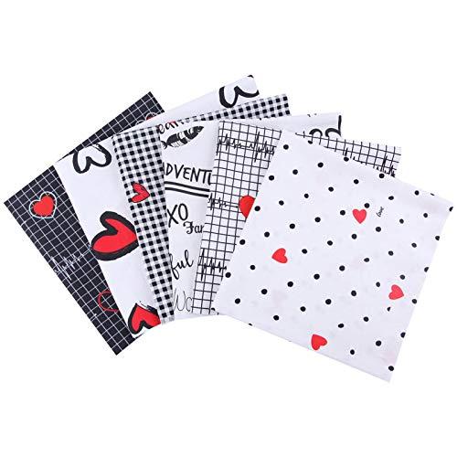Tela de algodón de San Valentín, tejido de algodón romántico acolchado, patchwork costura, trozos grandes de flores precortadas y caidas de tela para manualidades de bricolaje, 6 unidades