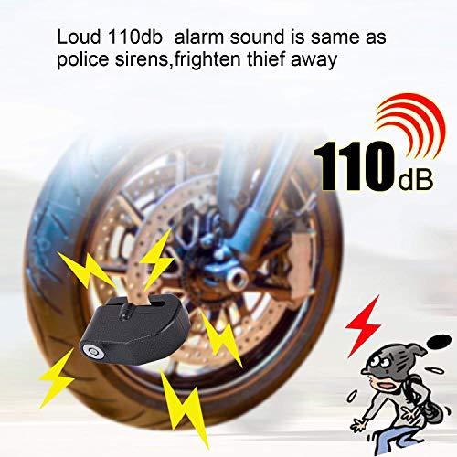 BangShou Bremsscheibenschloss mit Alarmfunktion 110dB Scheibenschloss Motorradschloss Ton für Motorrad und Fahrrad - 5