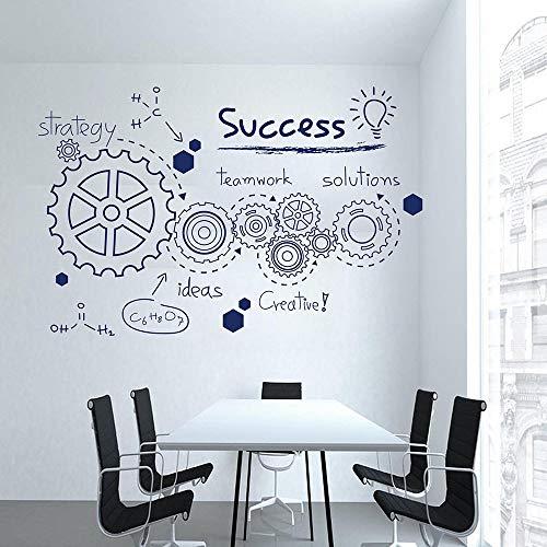 Etiqueta de la pared del engranaje trabajo en equipo palabras de éxito inspiradoras vinilo pegatina decoración de la habitación de estudio