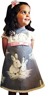 YWLINK Girls' Lace Patchwork Short Sleeve A Line Dress Easter Day Rabbit Print Clothes Toddler Baby Evening Dresses