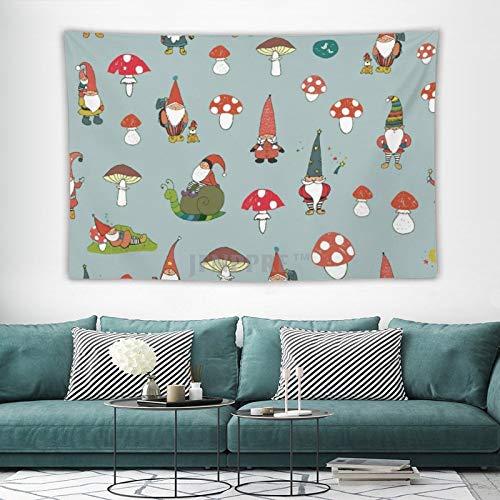 Tapestry Wall Hanging, Cute Garden Gnomes Mushroom Gardening Tapestries Wall Decor for Dorm Living Room Bedroom 150x100 cm