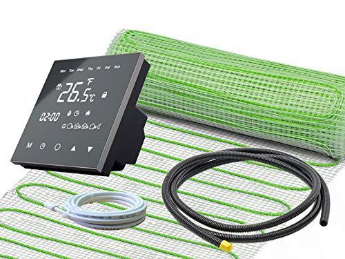 Elektrische Fußbodenheizung UltraPro für Fliesen 160 W/m² Komplett-Set mit Thermostat RT-50 schwarz (1 m² - 0,5 x 2 m)