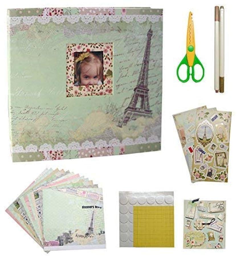 IDULL Travel Scrapbook Kits 8x8 with Scrapbooking Supplies (Light Green, Eiffel Tower)