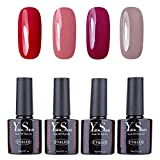 Vernis Gel Semi Permanent - Y&S UV LED Vernis à Ongles Gel Soak Off Nail Polish Kit 4 Couleurs x 10ml, Lot J'adore