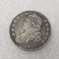 絶妙なコインアンティーク工芸品アメリカン181750銅銀メッキシルバーダラーシルバーラウンドコイン#