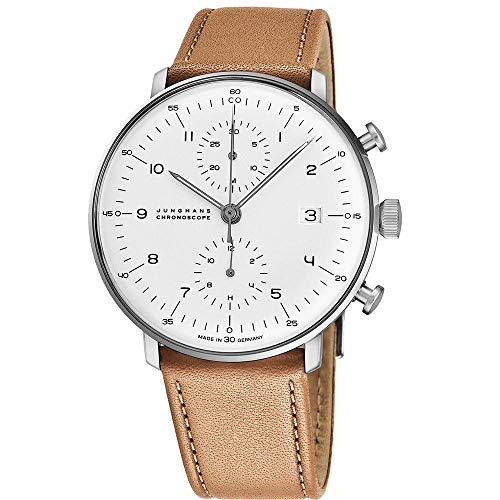 Junghans Max Bill Chronoscope Mens Automatic Chronograph Watch - 40mm Analog Silver Face with Luminous Hands and Date - Stainless Steel Brown Leather Band Luxury Watch Made in Germany 027/4502.00
