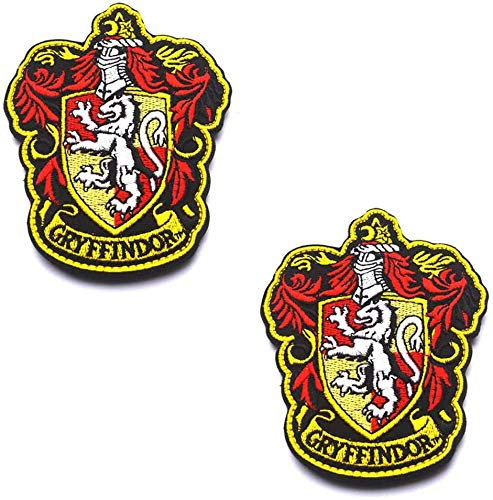 Harry Potter House of Gryffindor Hogwarts-Wappen, Farbverschluss, Haken- und Schlaufenrückseite, besticktes Aufnäher, Set für Mantel, Jacke, Rucksack, Hut, Kappe, 10 x 8 cm, 2 Stück