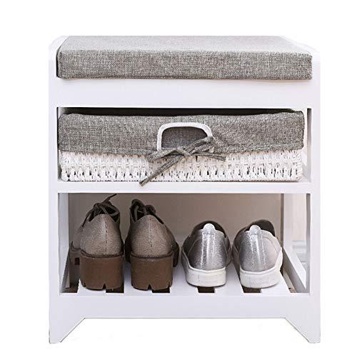 Estante de Zapatos Banco de almacenamiento moderno de zapatos, zapatos de madera maciza Estantería de almacenamiento de taburete de taburete con cojín para pasillo de entrada Organizador de Zapatos