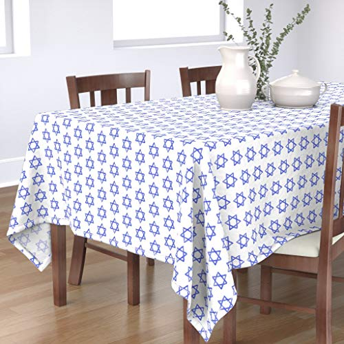 Roostery Tablecloth, Blue Jewish Star Hanukkah Holiday Faith Print, Cotton Sateen Tablecloth, 70in x 108in