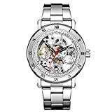 Sweetbless Wristwatch Mechanical Men Carving Skeleton Auto self-Wind Watches Transparent