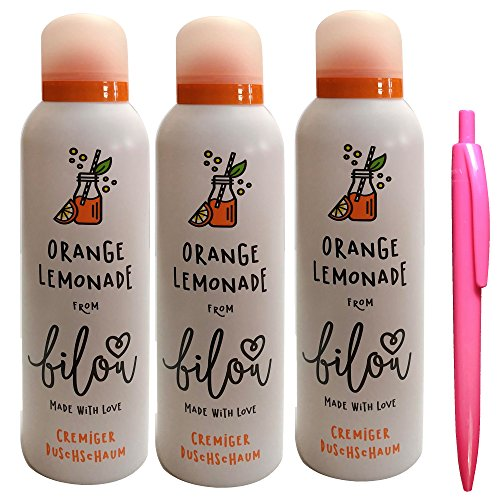 bilou Duschschaum Orange Lemonade 3er Set mit usy Pink Pencil (3 x 200 ml Flasche)