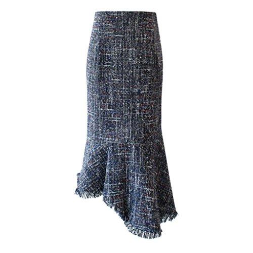 BSQZ JIN PING® Fishtail Rokken, lange sectie van de winter nieuwe grove wollen Slim slank asymmetrische pakket hip rok