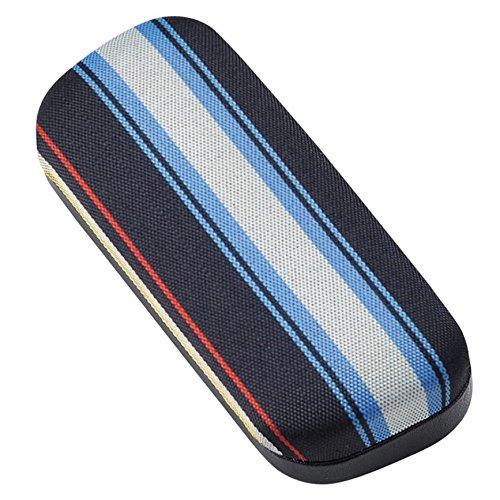 カラフル ストライプ が おしゃれ な スリム メタル ハード メガネケース ブルー 2447-01