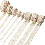 40 Yards Cotton Lace Trim Vintage Lace Ribbon Crochet Lace Scalloped Edge for Bridal Wedding Decoration Christmas Package DIY Sewing Craft Supply, 5 Yards Each, 8 Styles (Beige)