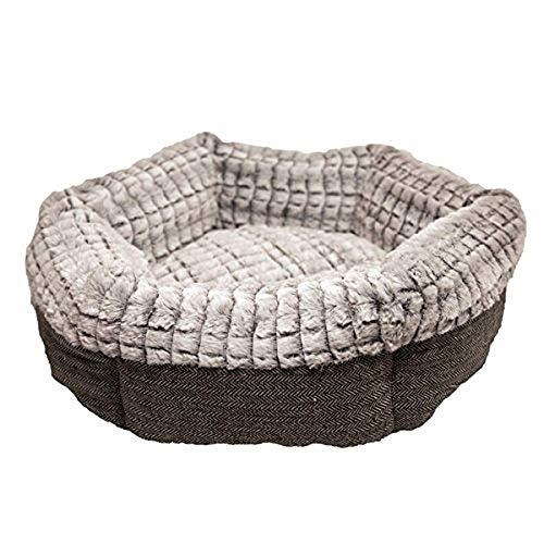 Rosewood 40 Winks Tweed/Plush Bed, 19-Inch, grey