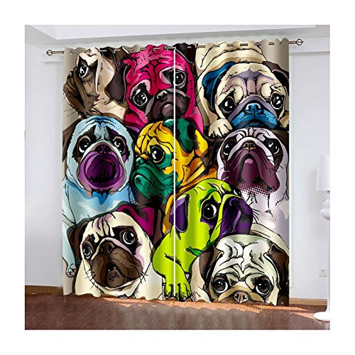 Daesar Lot Rideau Occultant, Rideaux Beige Marron Vert Rideau Design Salon Chien Mignon Rideau pour Fenêtre 132x274CM