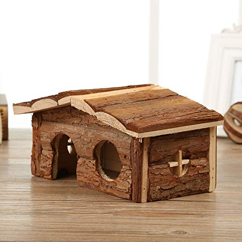 Willlly Pet Supplies Hedgehog House with Ground Wood with Bark Roof Printemps Automne Petite maison Totoro Hamster Hut Outdoor (Couleur : A, Dimensions : 18,5 x 11 x 11,5)