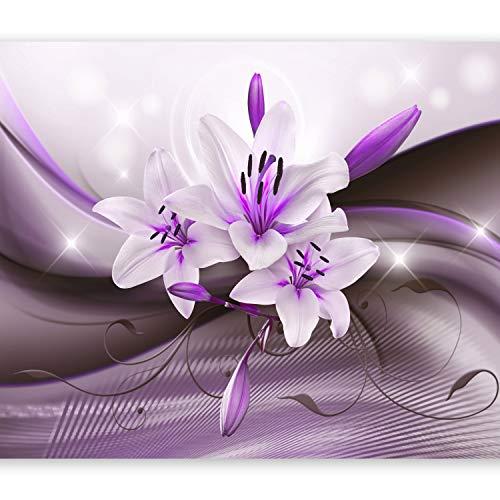 murando Fototapete Blumen Lilien 350x256 cm Vlies Tapeten Wandtapete XXL Moderne Wanddeko Design Wand Dekoration Wohnzimmer Schlafzimmer Büro Flur Blitz Abstrakt Lila b-A-0250-a-c