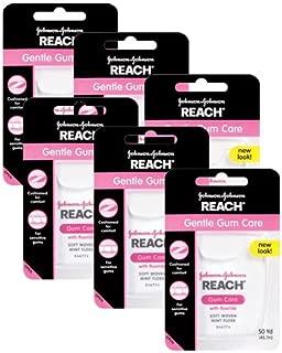 REACH リーチ デンタルフロス フッ素加工・ミントワックス 【柔らかくい網目状フロス・歯茎が敏感な方に】50ヤード 6個セット 【海外直送品】