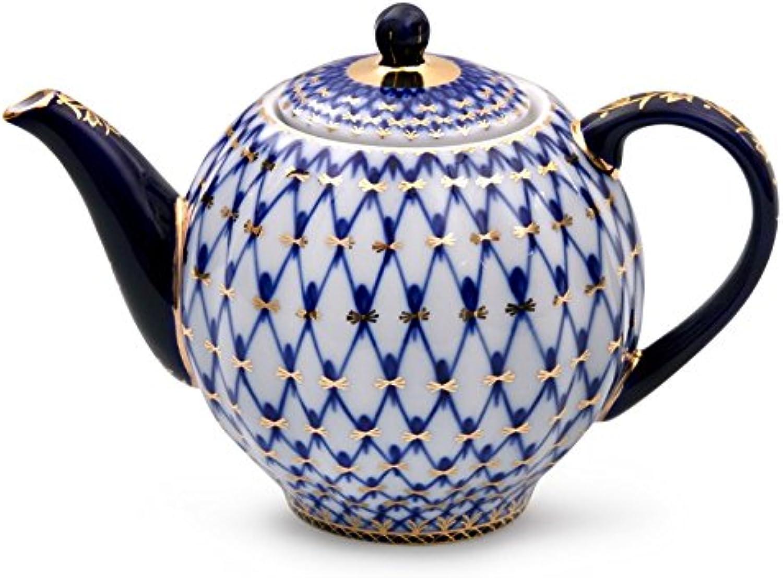 Imperial   Lomonosov Porcelain Teapot 'Tulip Cobalt Net'