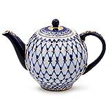 Imperial / Lomonosov Porcelain Teapot 'Tulip Cobalt Net'