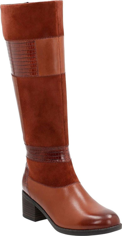 Clarks Wouomo Nevella Nova Knee High avvio,Tan Cow Full Grain Leather Leather Go
