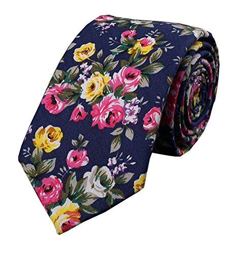 Black Temptation Art und Weise Baumwolle Geschäfts-dünne Krawatte binden Blumen