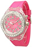 Multicolored Geneva Quartz Flashing Light up Color Changing LED Silicone Jelly Watch (Pink)