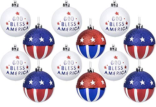 Geek-M 12PCS Christmas Balls Ornaments for Xmas Tree,80MM American Flag Christmas Tree Ornaments 4th of July Patriotic Hanging Balls Independence Day, USA Themed Party Decor Supplies