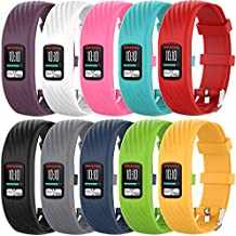 QGHXO Band for Garmin Vivofit 4, Soft Silicone Replacement Watch Band Strap for Garmin Vivofit 4 Activity Tracker, Small, Large, Ten Colors (Z-Pack of 10 (Special Edition), Large)