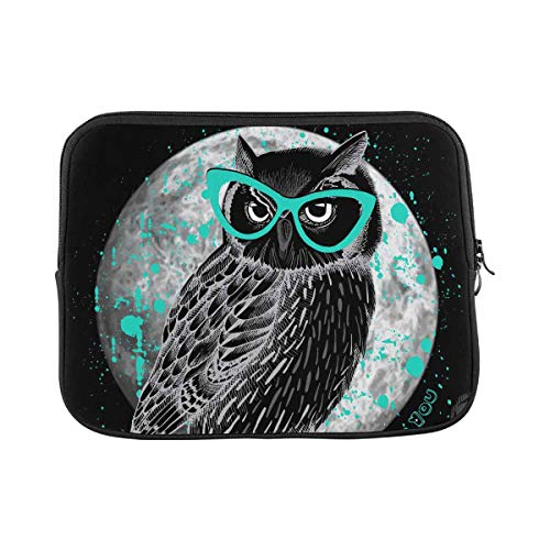 INTERESTPRINT Laptop Sleeve Owl with Glasses and Moon at Night Notebook Neoprene Pouch Case Bag 11 Inch 11.6 Inch
