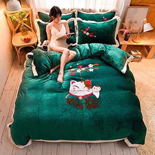 Funda de edredón de forro polar-Otoño e invierno engrosamiento y calidez linda toalla de dibujos animados sábana de franela bordada funda de edredón funda de almohada ropa de cama de cuatro piezas-F_