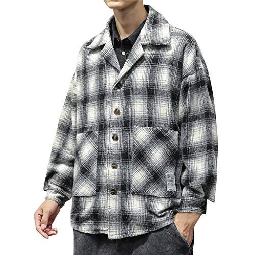 SANFASHION 2019 Manteau Homme Hiver New, Vestes Chemise Boutons Hiver Chemise Shirt Carreaux Grand Taille Manteau,Coat Classique Blouson de Laine Vintage Outwear Jacket Bonne Qualité Grande Taille