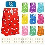 Nasharia 50 Papier Candy Tüten Partytüten Set, Bunt Geschenktüten mit 84 Stickern zum Geburtstag...