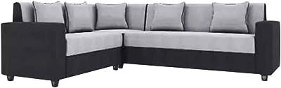 Furny Funliving Fabric 6 Seater L Shape Sofa - 3 Seater + 2 Seater + 1 Corner Sofa Set (Grey-Black)