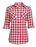 UNibelle - Camisa a cuadros de manga larga para mujer, camisa de cuadros con mangas ajustables, casual, ocio, verano, Rojo sandía, L