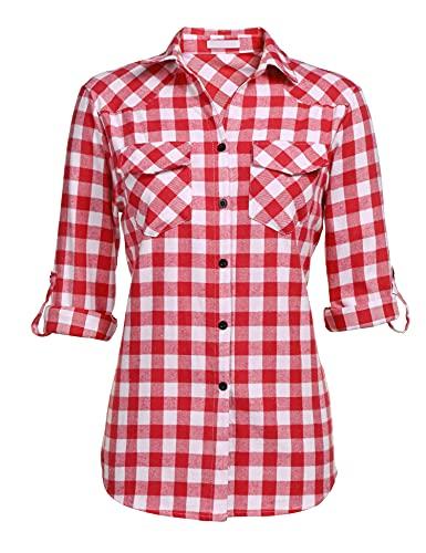 UNibelle Kariertes Hemd Damen Langarm Karohemd Bluse Damen Baumwolle mit Einstellbare Ärmeln(Wassermelonenrot,L)