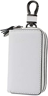 Women's Wallet Cross-Stitched Leather Key Case Popular Double-Layer Zipper Car Key Case (Color : White, Size : L)