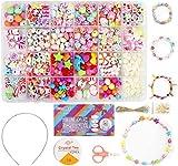 Ucradle Perles pour Enfant, 550pcs Bracelet Bricolage Perles Set Colliers Perles Enfants pour Alphabet Poney, Kit de Fabrication de Bijoux Art Crafts Jouets pour Enfants Perles Classiques et Bijoux