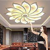 Lámpara de techo LED moderna control remoto Regulable sala estar gran tamaño Creatividad Lámpara techo pétalo Pantalla acrílico Accesorio iluminación para dormitorio Candelabro comedor,12 heads